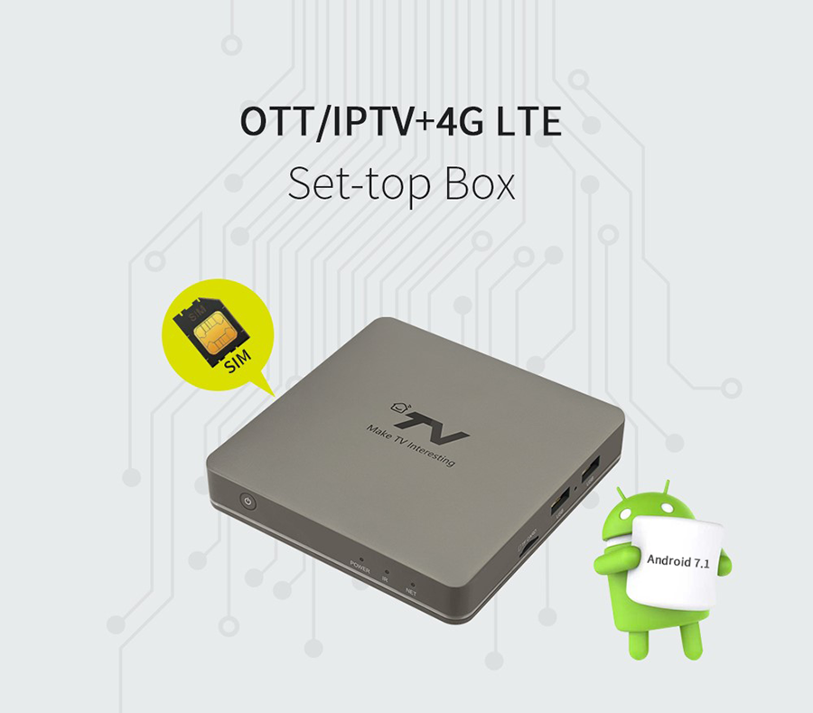 Quad Core 4K Android OTT TV box with 4G-LTE SIM Card Slot