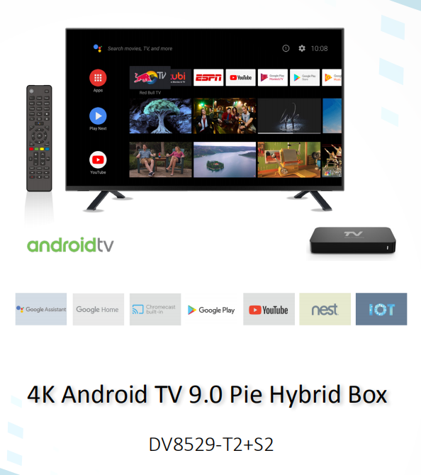 DV8529-T2+S2 4K Android TV STB with Amlogic S905X2 processor