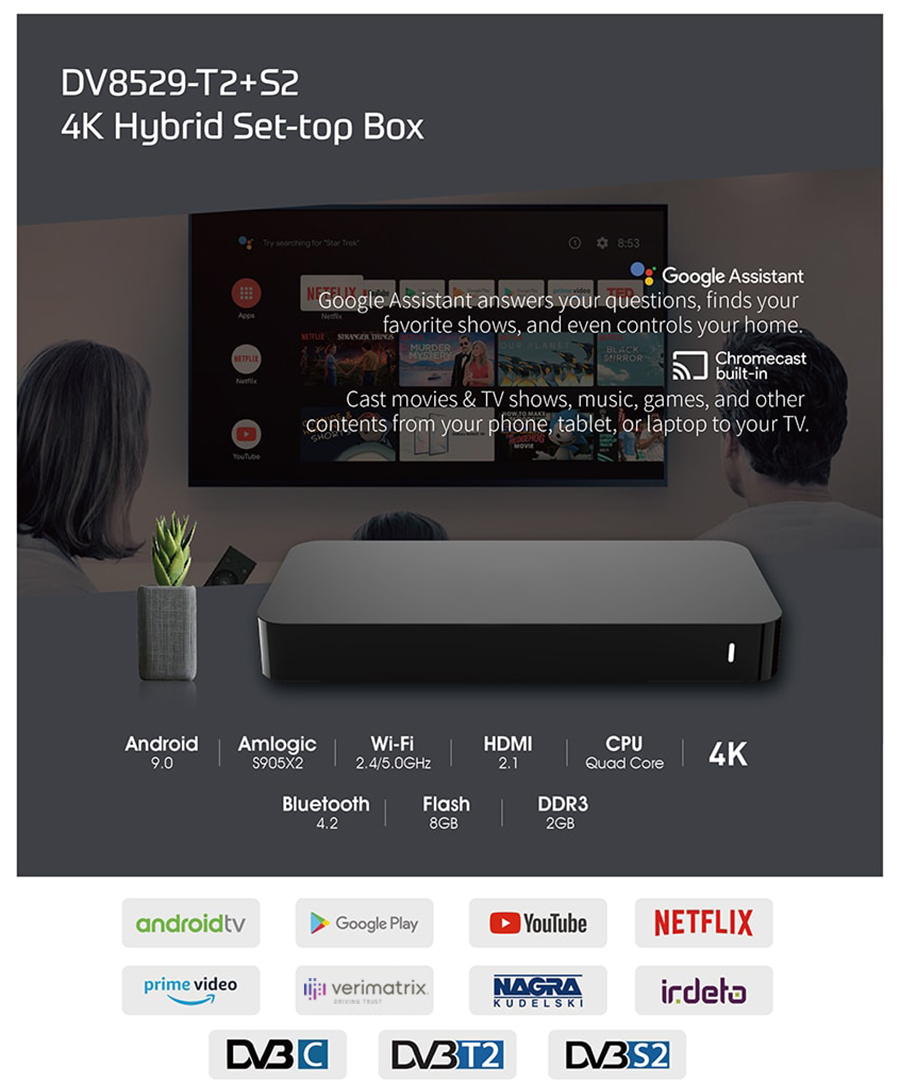 DV8529-T2 4K Android TV Hybrid STB with Amlogic S905X2 processor
