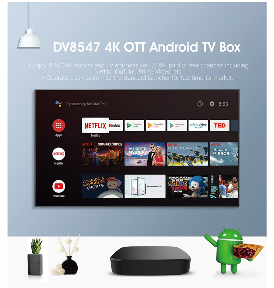 DV8547 4K OTT Android TV Smart Box Quad Core 64-bit Cortex-A53