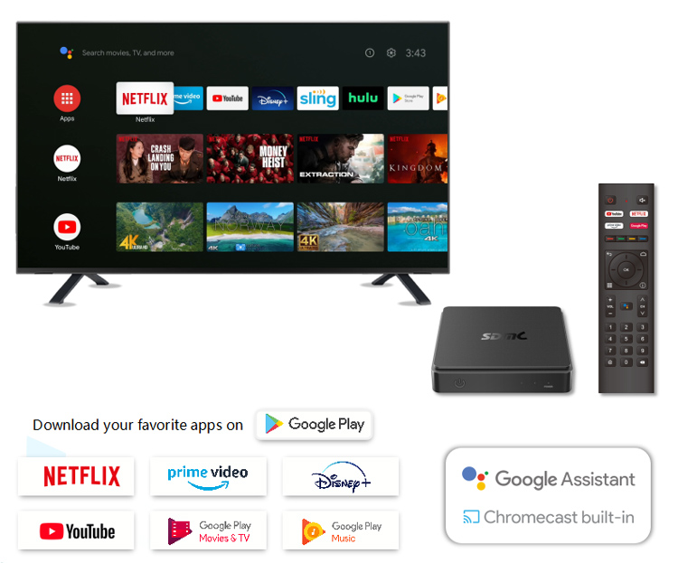 4K Android TV Hybrid Set-Top Box with AV1 WiFi 6 Support