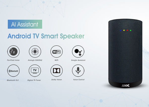 4K Android TV Smart Speaker: Integrated with AI Assistant & Digital TV Receiver