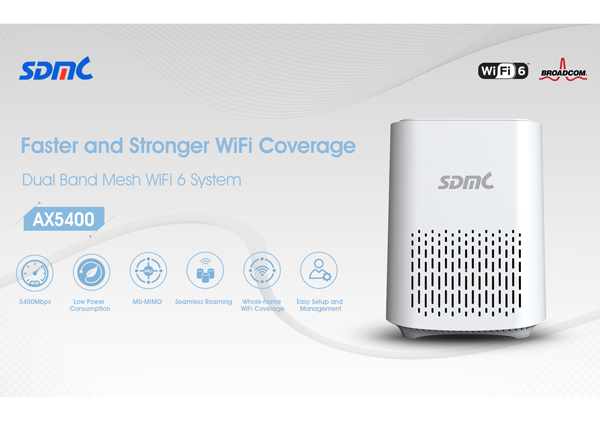 SDMC Launches New Wi-Fi 6 Mesh Router Capable of Wireless Speeds up to 5400Mbps