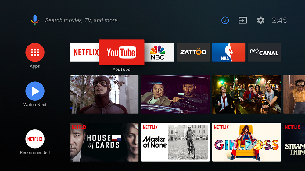 Android TV 8.0 UI